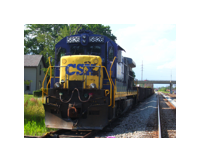 A CSX work train sits on the old Power Shovel spur off the ex-C&O line. The spur now serves an International Paper warehouse.